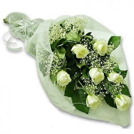 White rose bouquet 50 cm with greens (7 pcs)