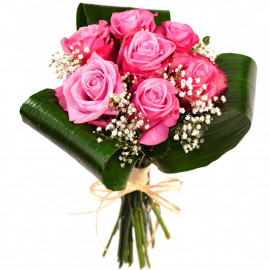 Bouquet of 7 pink roses 40 cm