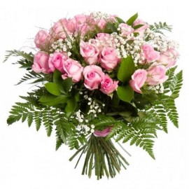 Pink rose bouquet 40 cm with greens (29 pcs)