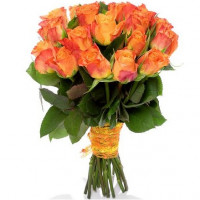 Orange roses 40 cm (variable quantity of flowers)